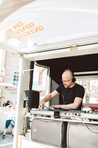 Portrait of Ulrich Troyer while Djing at Museumsquartier Vienna in May 2016.Photo made by Stefan Fuertbauer.