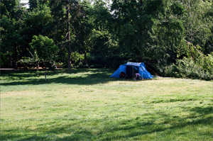 the blue tent in the middle of the danube park