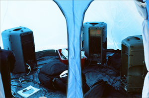 inside view of the tent with soundsystem