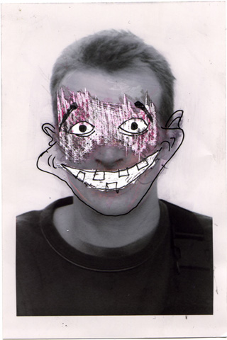 selfportrait: a photo booth portrait edited with a razor blade and a marker pen.